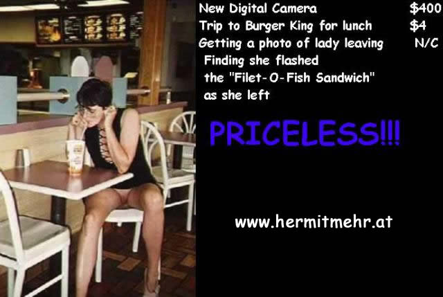Woman sitting in Burger King restaurant with no panties