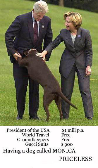 Bill Clinton getting a blowjob from his dog