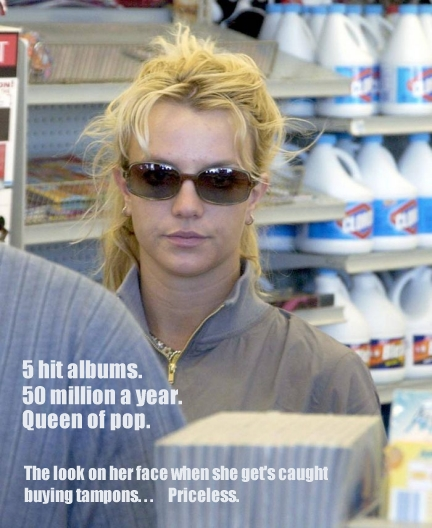 Britney spears getting caught in a supermarket buying a pack of tampons