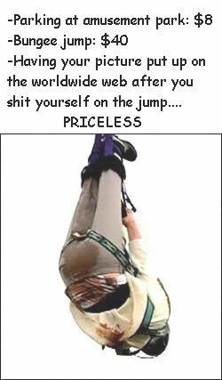 Man shitting his pants while a bungee jump