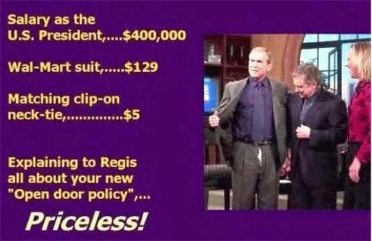 George Bush with open trousers door
