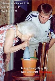 Grandma smoking a bong