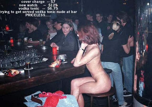 Naked woman at the bar