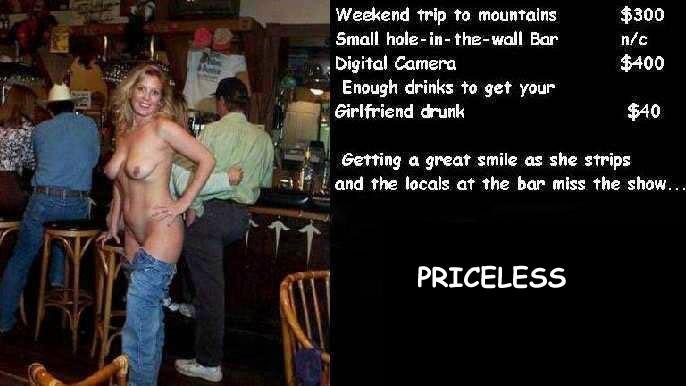 Drunk woman naked at bar