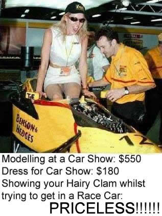 Woman without panties in race car
