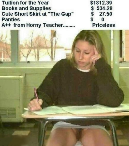 Girl sitting in school without panties