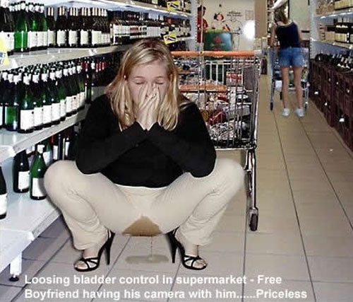 Woman with pissed pants in supermarket