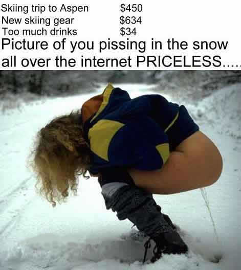 Woman pissing into snow