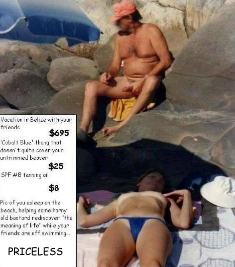 Spectator wanking while looking at a topless woman on the beach