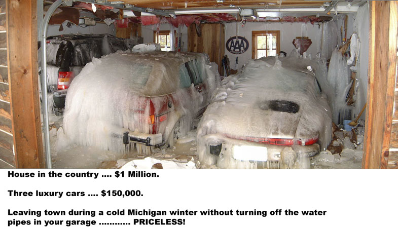Stupid guy forgetting to turn of the water pipe in winter and freezes 3 cars in the garage