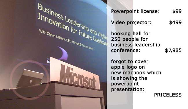 Microsoft presentation done with an Apple MacBook Pro