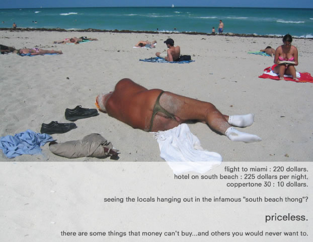 Man lying on the beach in a thong
