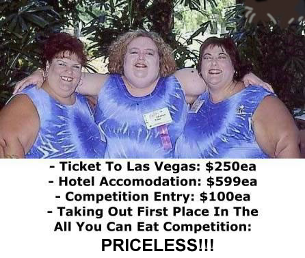 Three ugly fat women winning in an All-You-Can-Eat contest
