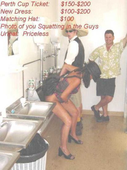Woman pissing in the guys urinal